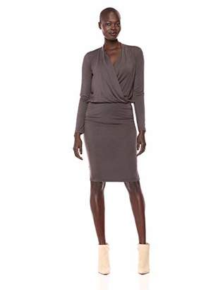 Michael Stars Women's Jules Jersey Long Sleeve Cross Front Dress