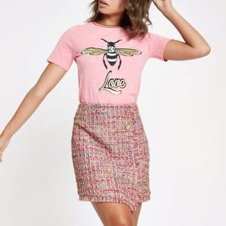River Island Pink check boucle button mini skirt