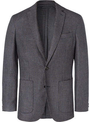 Hackett Grey Unstructured Dogtooth Wool And Silk-Blend Blazer