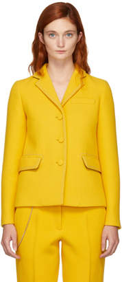 Bottega Veneta Yellow Embroidered Chain-Link Blazer