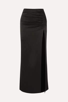 Alice + Olivia Diana Ruched Satin Maxi Skirt - Black