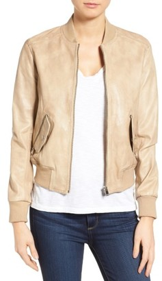 Women's Lamarque Lambskin Leather Bomber Jacket $450 thestylecure.com