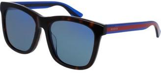 Gucci GG0057SK 004 Havana Blue Frame / Blue Lenses