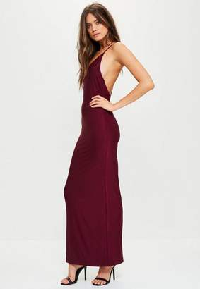 Missguided Burgundy Slinky Cowl Back Strappy Maxi Dress, Plum