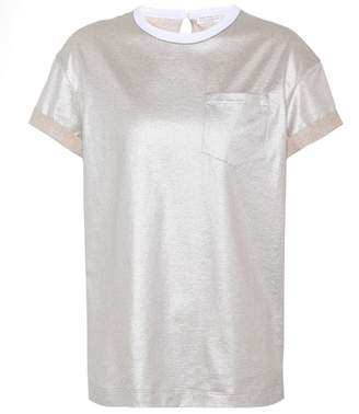 Brunello Cucinelli Metallic cotton T-shirt