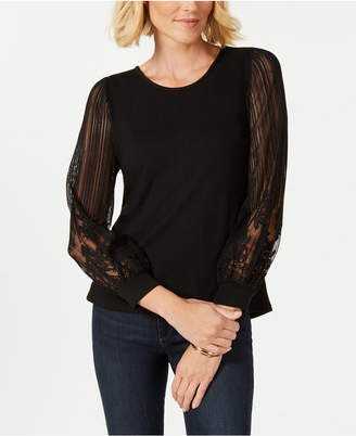 NY Collection Petite Lace-Knit Sleeve Top
