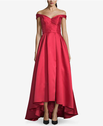 Xscape Evenings Petite Off-The-Shoulder High-Low Gown