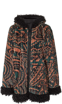 Anna Sui Faux Fur-Trimmed Psychedelic Swirls Hooded Jacket