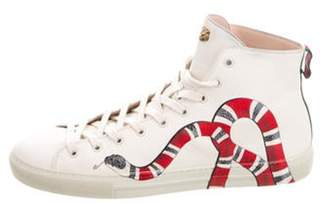 Gucci Snake Print Leather High-Top Sneakers multicolor Snake Print Leather High-Top Sneakers