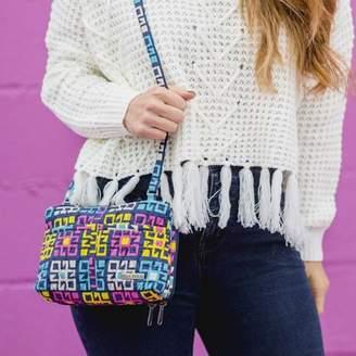 Ashton & Willow Indigo Blue Bohemian Handbags Zealand Metro Crossbody Cotton Adjustable Strap Pewter Hardware Geometric Crossbody