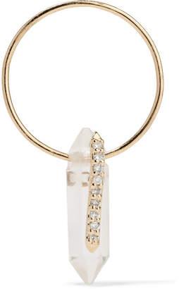 Pascale Monvoisin Moon 9-karat Gold, Crystal And Diamond Earring