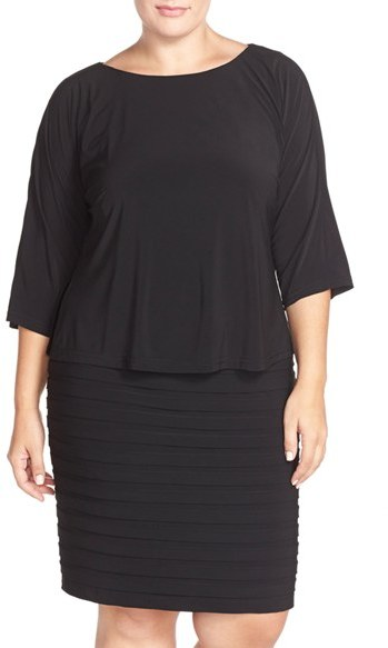 Adrianna Papell Plus Size Women's Adrianna Papell Shutter Pleat Popover Sheath Dress