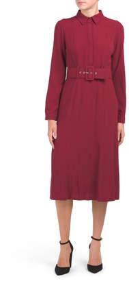 Midi Shirt Dress With Wide Belt