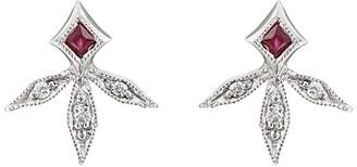 Cathy Waterman Women's Diamond & Ruby Leaf Stud Earrings