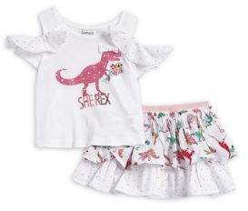 Flapdoodles Little Girl's Two-Piece Dino Scooter Set