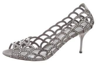 Sergio Rossi Crystal-Embellished Peep-Toe Pumps