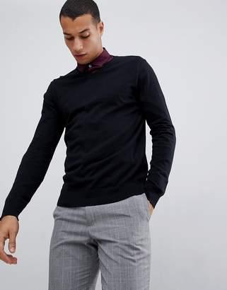 Burton Menswear v neck jumper in black