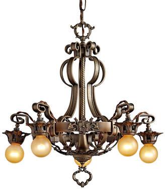 Rejuvenation Five-Light Chandelier w/ Heraldic Shield Motif