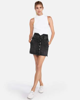 Express Super High Waisted Notch Front Denim Mini Skirt