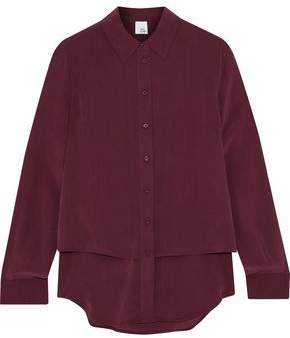 Iris & Ink Michelle Layered Washed-Silk Shirt