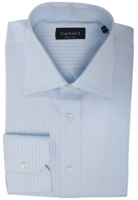 Canali light blue oxford striped dress shirt