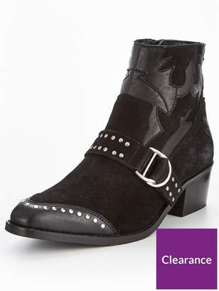 Very Tilly Real Suede Studded Western Boot - Black