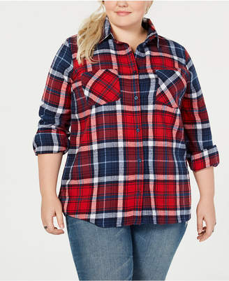 Planet Gold Trendy Plus Size Cotton Plaid Shirt