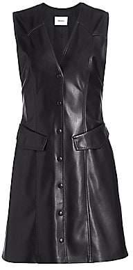 Nanushka Women's Menphi Sleeveless Vegan Leather A-Line Shirtdress
