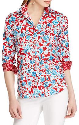 Chaps Petite Quarter-Sleeve Cotton Button-Down Shirt