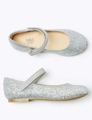 Marks and Spencer Kids Freshfeet Glitter Mary Jane Shoes (5 Small - 12 Small)