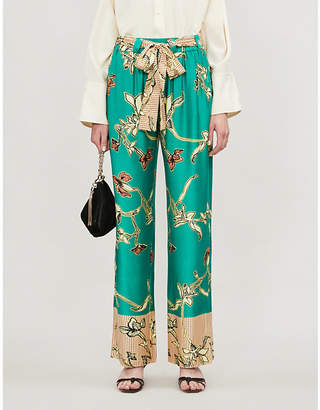Alexis Aviles floral print high-rise wide-leg rayon trousers