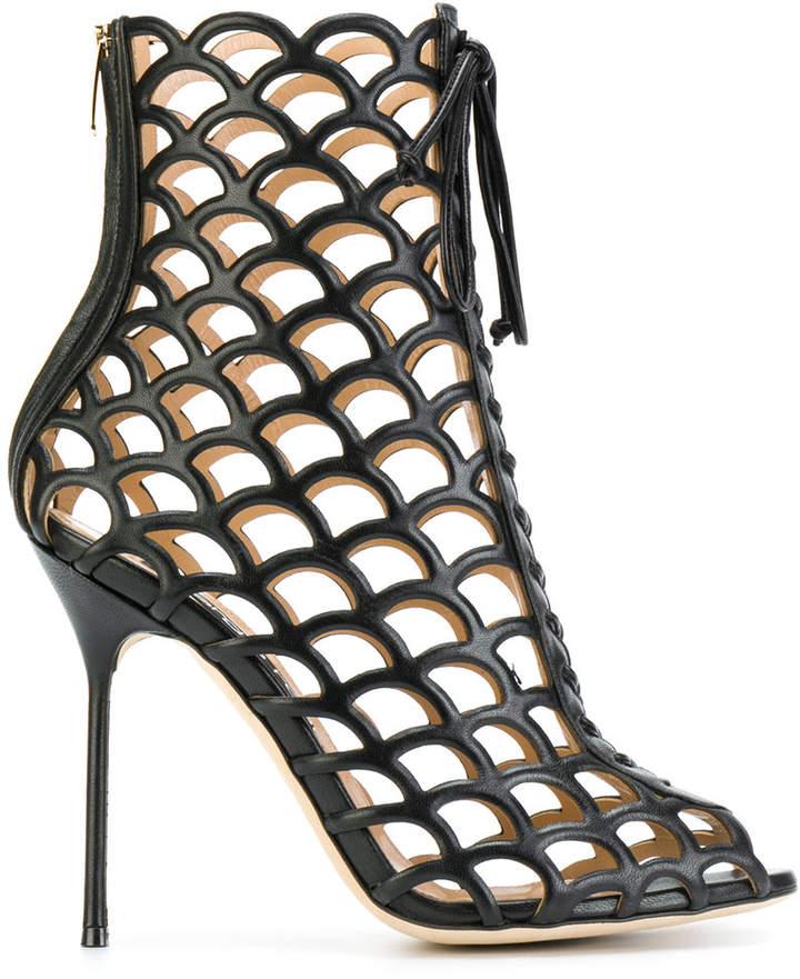 Sergio Rossi mesh zip-up heeled boots