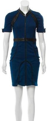 Wayne Leather-Accented Mini Dress