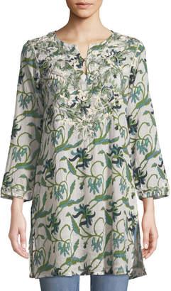 Raj Aisha Embroidered Ivy-Print Tunic