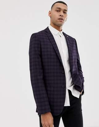 Farah Smart Hurstleigh skinny fit check suit jacket in burgundy