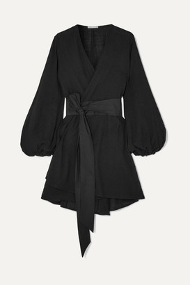 Kalita Gaia Cotton-gauze Wrap Mini Dress - Black