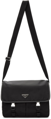 Prada Black Nylon Saffiano Messenger Bag