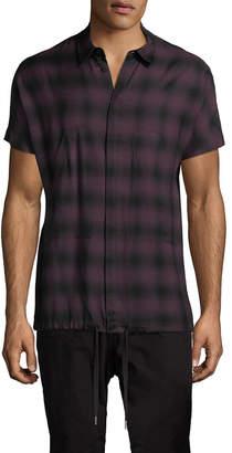Helmut Lang Plaid Drawstring Shirt