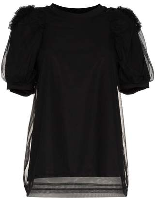 Simone Rocha tulle puff sleeve cotton blouse