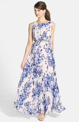 177ce64fa60 Eliza J Pleated Floral Chiffon Maxi Dress