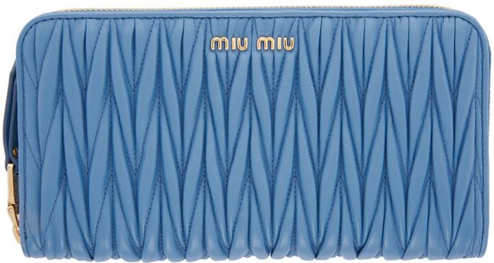 Miu MiuMiu Miu Blue Matelassé Zip Wallet
