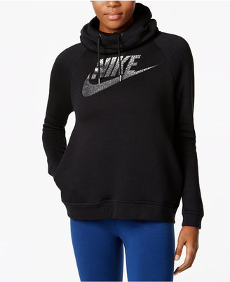 Nike Rally Metallic Funnel-Neck Hoodie $65 thestylecure.com