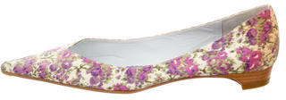 Delman Pointed-Toe Floral Print Flats $65 thestylecure.com