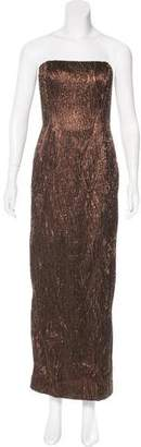 Carmen Marc Valvo Structured Bead-Embellished Gown