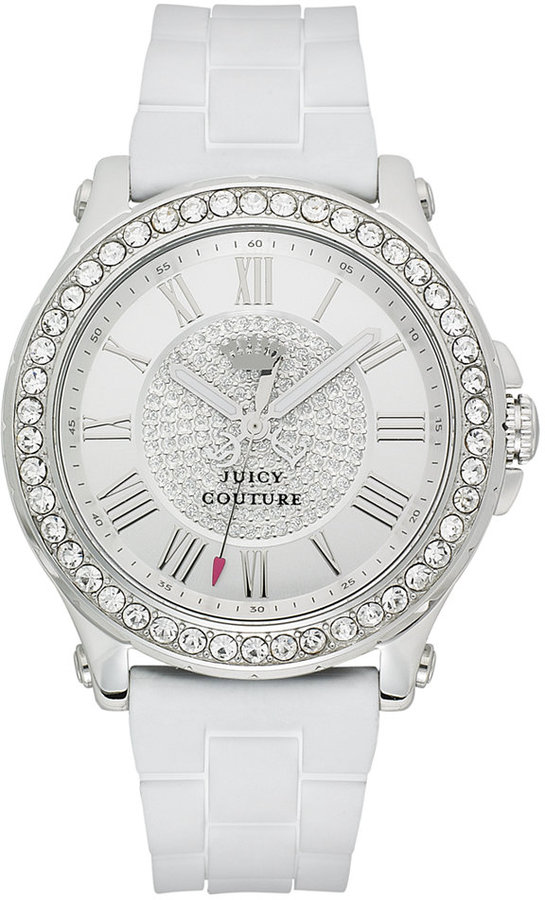 Juicy CoutureJuicy Couture Watch, Women's Pedigree White Silicone Strap 38mm 1901051
