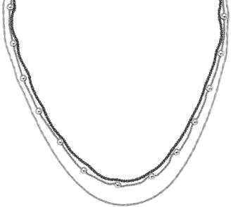 Italian Silver Two-Tone Multi Chain Layered Necklace, 15.0g