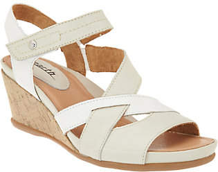 Earth Leather Multi-Strap Wedges - Thistle