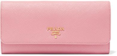 Prada - Textured-leather Continental Wallet - Pink