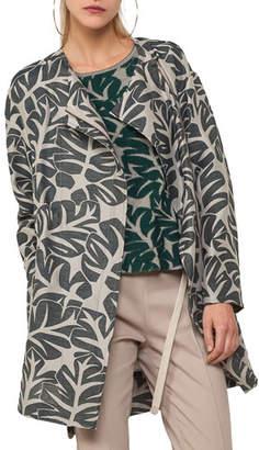 Akris Punto Tropical Leave Jacquard Hidden Zip Coat