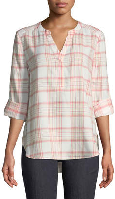 NYDJ Plaid-Twill Henley Blouse
